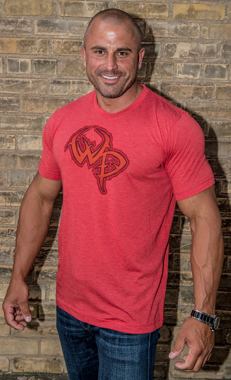Wildlife Pursuit Red Tri-Blend T-Shirt with Red-Orange Logo